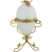 "8 ½"" Antique White Opaline Egg Shaped Casket Hinge Box ""WONDERFUL WHITE OPALINE"""