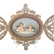 "Antique Double Door Carved Frame & Handpainted Cherubs Porcelain  ""WONDERFUL"""