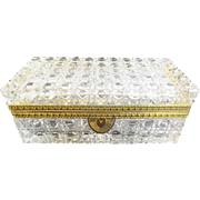 "Antique French Cut Crystal Glove Casket Hinged Box  "" A  GLORIOUS SIZE & CUT"""