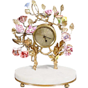 "Antique French Clock w Porcelain Flowers Resting on an Alabaster Plinth ""SO SWEET& CHARMING"""