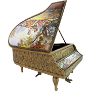 "Antique Austrian Enamel Musical Piano Harpsichord ""Artist Signed"""