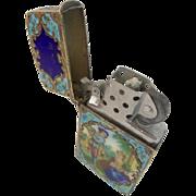 "Austrian Silver Enamel Cigarette Lighter "" PASTORAL SCENES"""