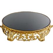 "Awesome Vintage French Brass Plateau ""BLACK GLASS"""