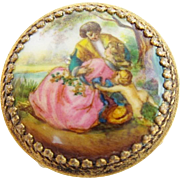 "Antique Austria Enamel Miniature Round Table / Stool ""Beautiful Pastoral Scenes & Putti"""