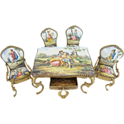 "19C Austrian Viennese Enamel Miniature Set ""Beautiful Pastoral Scenes"""