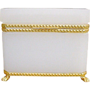 "Antique French White Opaline Casket Hinged Box "" Bronze Mounts & Paw Feet"" EXQUISITE"