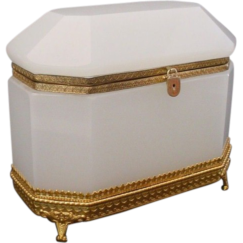 Antique French White Opaline Dome Top Casket Hinged Box