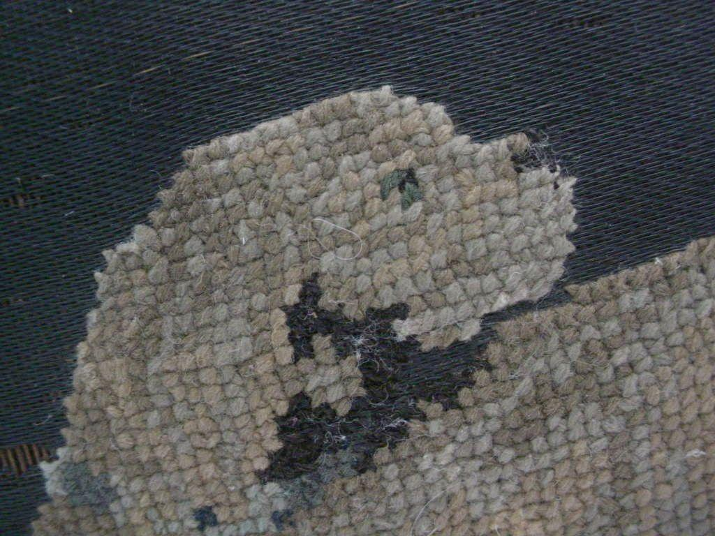 "Darling Antique ""Dog"" Needlepoint Stool"