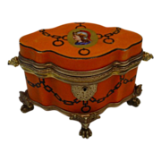 """WWW Antique Bohemian Porcelain  Casket Hinged Box """" FAB Shape"""""""