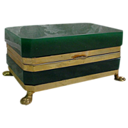 """Antique French Emerald Opaline Hinged Box  """"Paw Feet"""""""