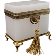 "Glorious Antique French White Opaline Casket Hinged Box  ""Awesome Footed Base"""
