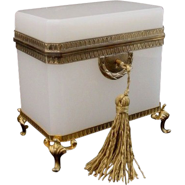 """Glorious Antique French White Opaline Casket Hinged Box  """"Awesome Footed Base"""""""