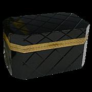 "Grandest  Antique Black Opaline Casket Hinged Box  ""BIG"""