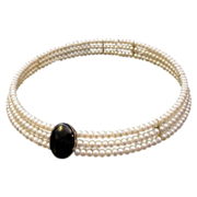 Stunning Fresh Water Cultured Pearl and Onyx Choker