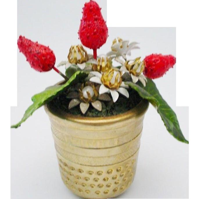 "Jeweled Enamel Strawberry Arrangement ""RARE GILT THIMBLE"""