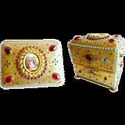 "Antique Austrian Jeweled Bronze Casket Hinged Box  ""Oval Porcelain Pastoral  Plaque Circled in Purple Gems"""