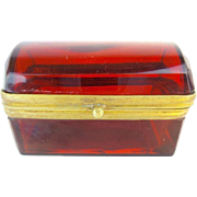 "Antique Bohemian Red Dome Top Miniature Hinged Box ""AWESOME COLOR"""