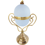 "BIG  9½"" Palais Royal Opaline Egg Box ""Fabulous Gilt Ormolu & RARE Lavender"""
