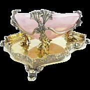 "GRANDEST Antique Pink Quartz Bowl w Grandest Figural Gilt Silver ""CAVIAR"""