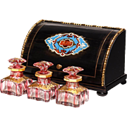 "Palais Royal  Baccarat Scent Casket 1860 French Ebonized Wood Box ""THREE BACCARAT CRANBERRY BOTTLES"""