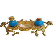 """Antique French Opaline & Mother of Pearl """"FOUR JEWELED SNAKES"""" Inkwell"""