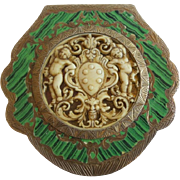 Antique Italian Silver Green Enamel Compact with Amazing Hand Craved Faux Ivory Putti Plaque