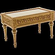 "AntiqueFrench  Miniature ORNATE Gilt Wood Vitrine ""Louis XIV  Style"" Beveled Glass"
