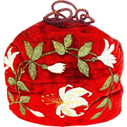 Antique Silk Hand Painted Tea Cozy 'HAND PAINTED & THICK""