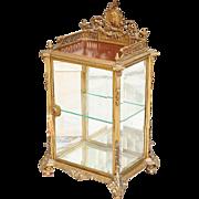 "GLORIOUS 29"" Bell Époque Miniature Bronze Vitrine  ""Pierced Crested ,Putto Medallion, Beveled Glass & Foliate Scroll Feet"""