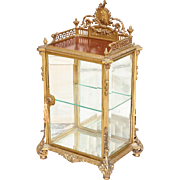"GLORIOUS 29"" Bell Époque Miniature Bronze Vitrine  ""Pierced Crested ,Putto Medallion, Beveled Glass & Foliate Scroll Feet"""