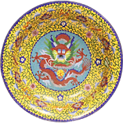 "Antique Chinese Dragon Cloisonné Bowl ""RARE YELLOW Cloisonné &  Five Toe Dragon"""