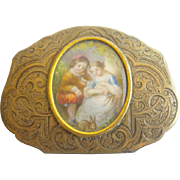"Antique French Gilt Miniature Purse with Children and Rabbits Miniature Portrait  "" A PALAIS ROYAL TREASURE"""