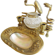 Antique French Crystal Mother of Pearl Inkwell with Twin Bronze SNAKES Pen Holder