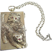 """LAYAWAY. Antique 800 Silver """"TWIN CATS"""" Compact Purse w Ruby Eyes  with the Original Presentation Box"""