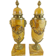 "PAIR 17 ¼"" French Gilt Bronze Mounted Marble Urns ""Sienna Brocatelle "" 'MAGNIFICENT"""