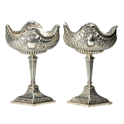 "Exquisite PAIR Hanau Silver Compotes "" 800 Silver Compotes with Glass Liners"""