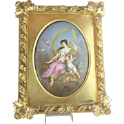 "French ""Sevres Styles"" Hand Painted Porcelain Plaque Framed ""A 1880 MASTERPIECE"" Young Beauty w Winged Cherub"