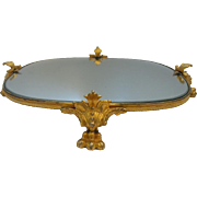"Beautiful Antique Gilt Bronze Perfume Vanity Mirror Tray""The Place for a Small Collection of Scent Perfume Bottles or Small Treasures"""