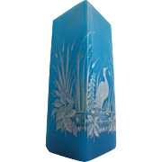 "Antique French Blue Opaline Vase ""Magnificent White Bird"""