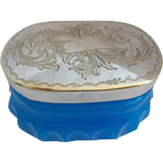 "Stunning Antique French Blue Opaline Box ""ENGRAVED SILVER TOP"""
