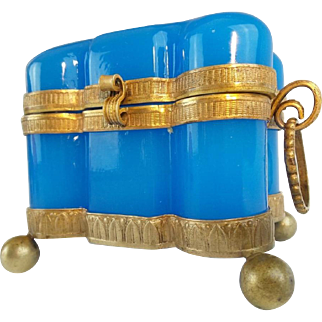 """Antique French Blue Opaline Double Handle Hinged Box """"MAGNIFICENT SHAPE"""""""