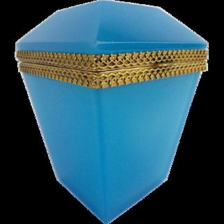 "Exquisite Antique Blue Opaline Hinge Box ""STUNNING SHAPE"""