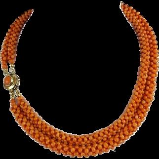 "Exquisite  14KARAT  Red Coral Necklace ""GORGEOUS"""