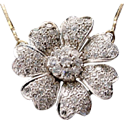 STUNNING 14KARAT Diamond Flower Necklace