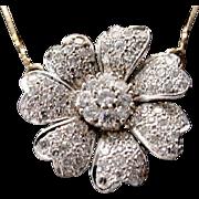 STUNNING 14KARAT Diamond Flower Necklace