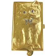 "RARE 18Karat ""CAT"" Box w Diamond Eyes & Collar Bow ""ADORABLE"""