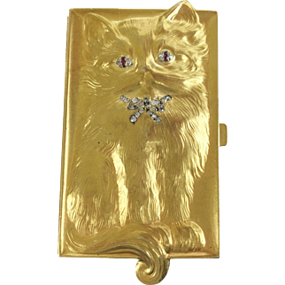 "RARE 18Karat ""CAT"" Box w Diamond Eyes & Collar Bow ""ADORABLE"""