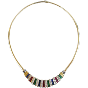 "20"" 14KARAT Yellow Gold, Ruby, Emerald, Sapphire & Diamond Necklace ""MAGNIFICENT FIT"""
