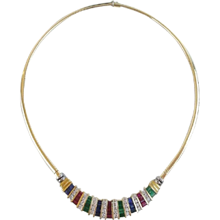 """20"""" 14KARAT Yellow Gold, Ruby, Emerald, Sapphire & Diamond Necklace """"MAGNIFICENT FIT"""""""