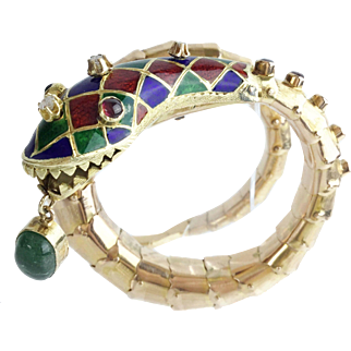 Estate Vintage14KARAT Enamel Snake Bracelet w Emerald, Rubies, & Diamonds